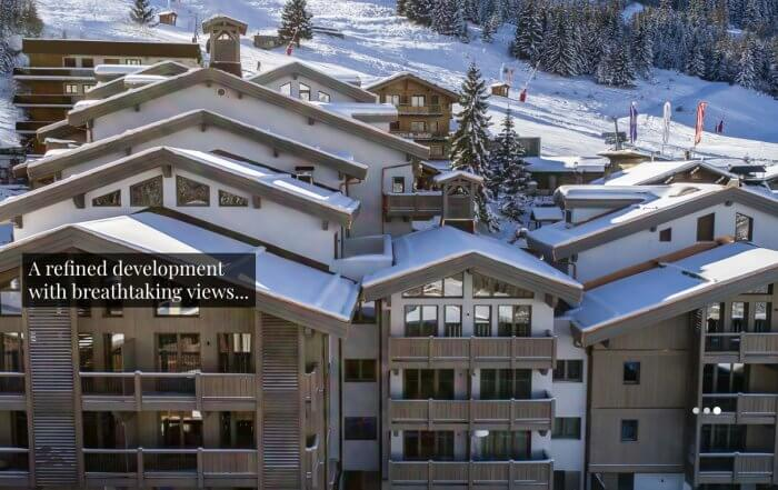 carre blanc courchevel 1550 findhomeabroad aerial view and piste