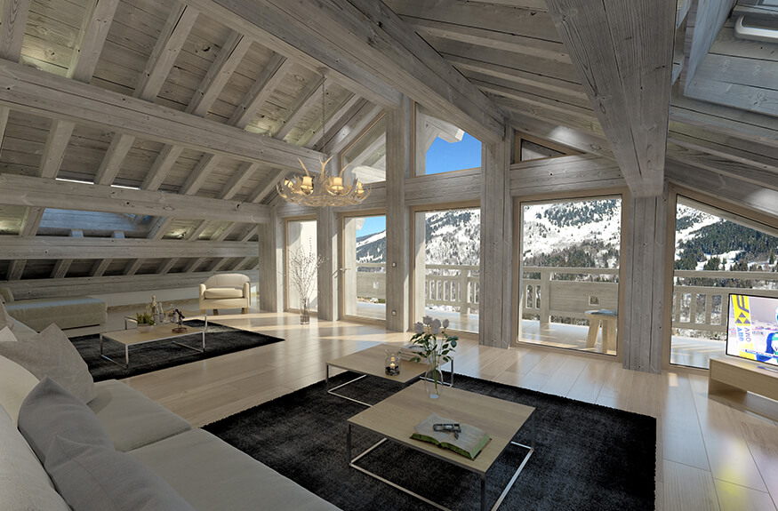 swan lodge meribel living room with bay windows and high ceilings