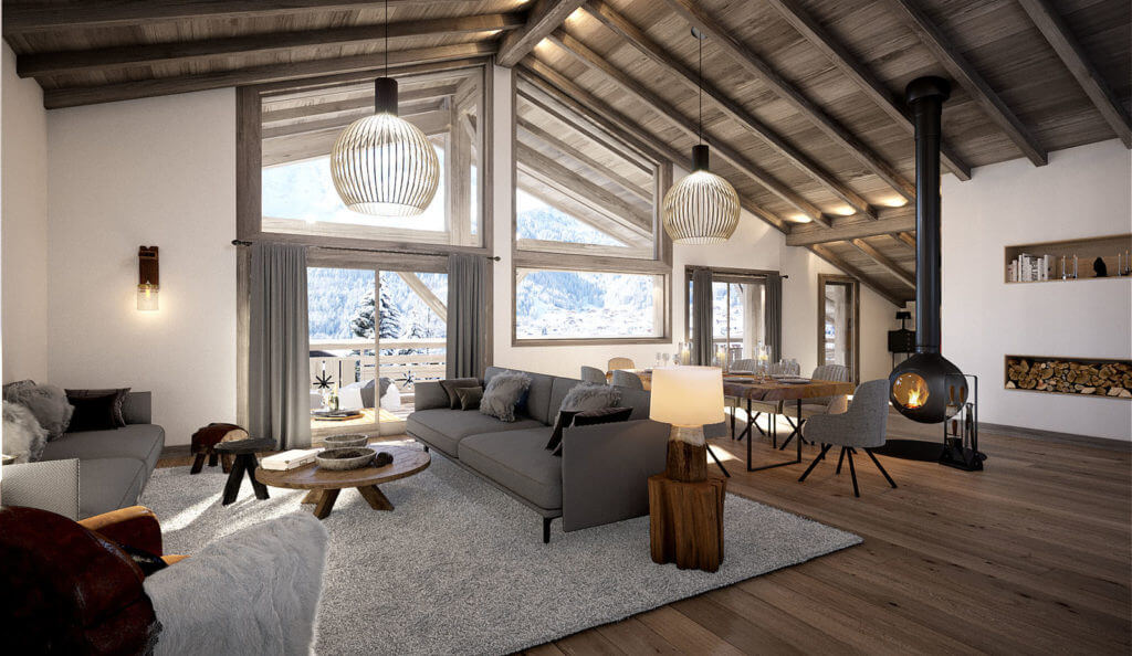 chalet quintessence chatel view top floor apartment living area