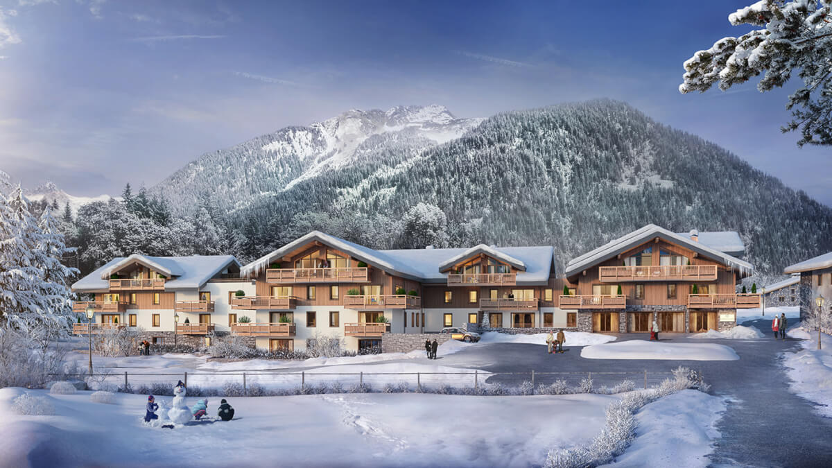 les terrasses de champagny exterior in winter