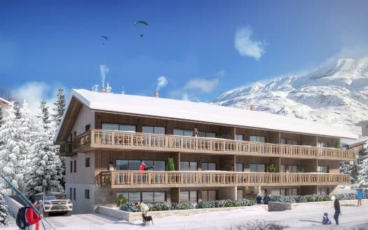 alpe d huez les gentianes terrace view winter view facade